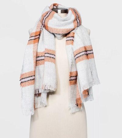 Universal Thread Women's Plaid Blanket Scarf in Cream