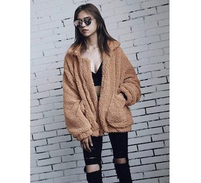 ECOWISH Faux Fur Jacket