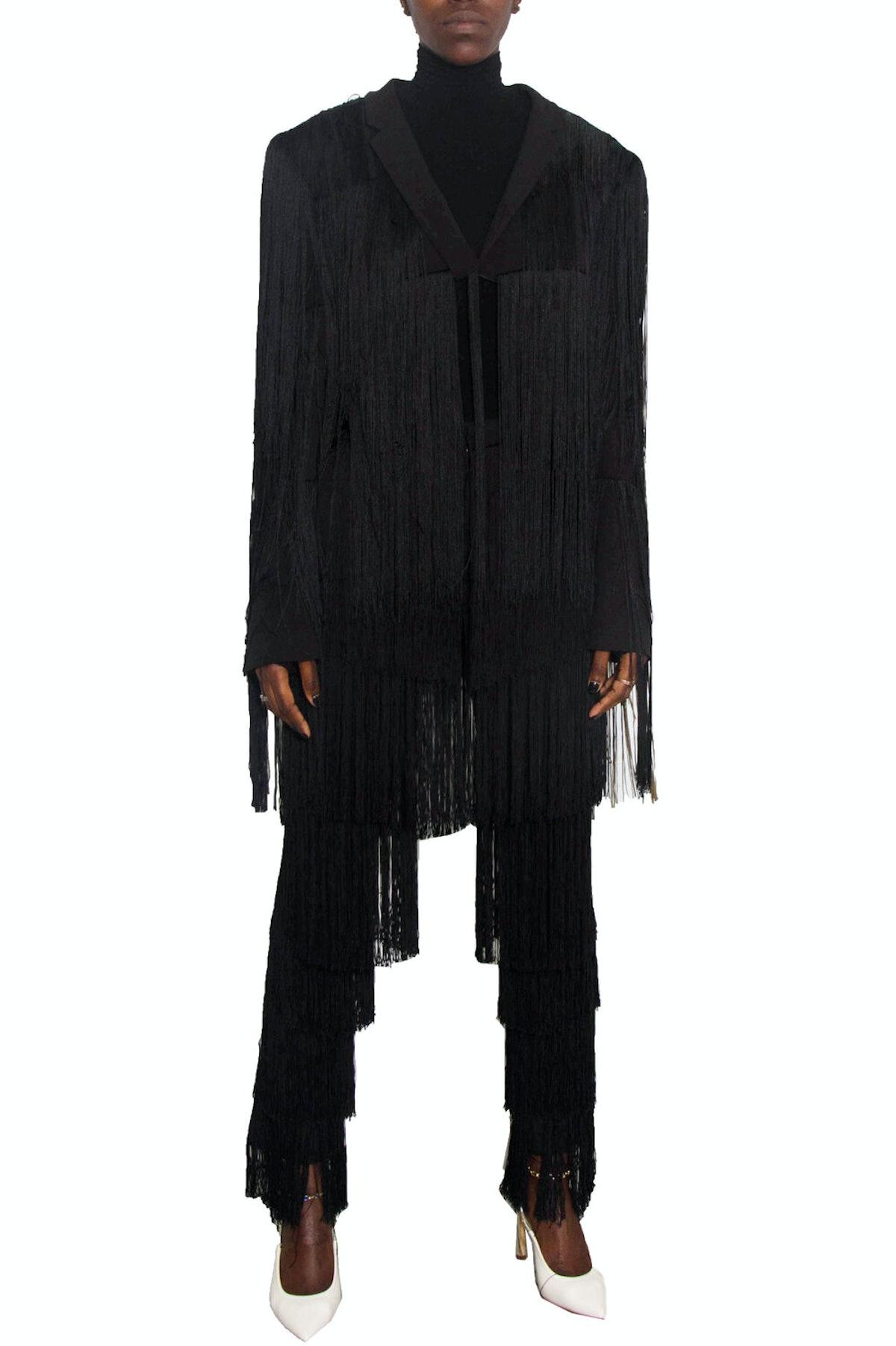 Romeo Hunte Black Fringe Blazer