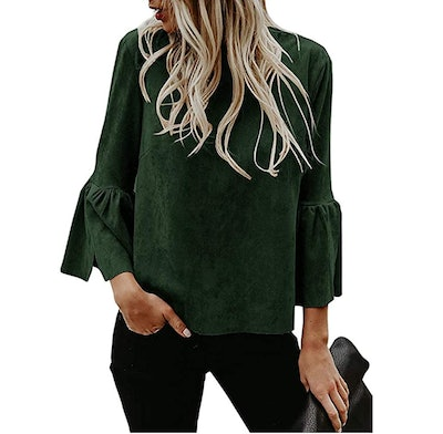 Kathemoi Faux Suede Bell Sleeve Top
