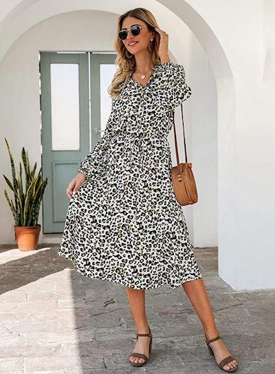 KIRUNDO Midi Leopard Print Dress