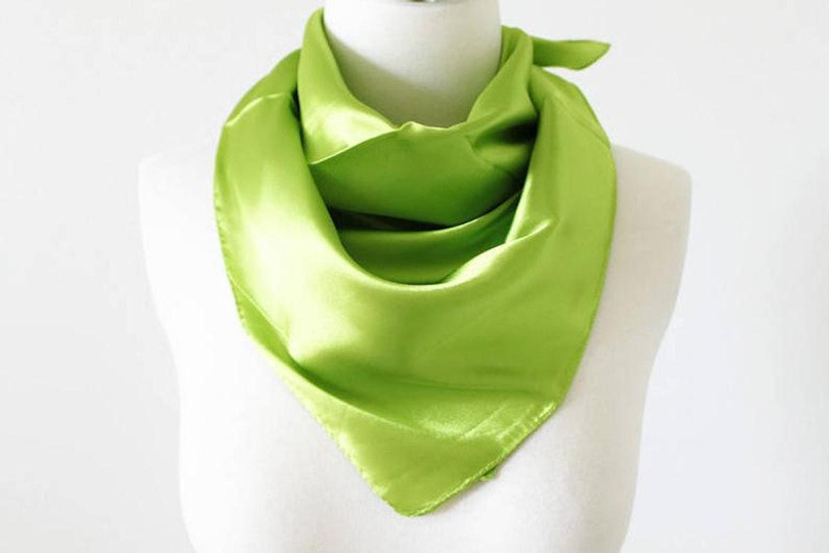 12thKnit Green Solid Color Square Scarves