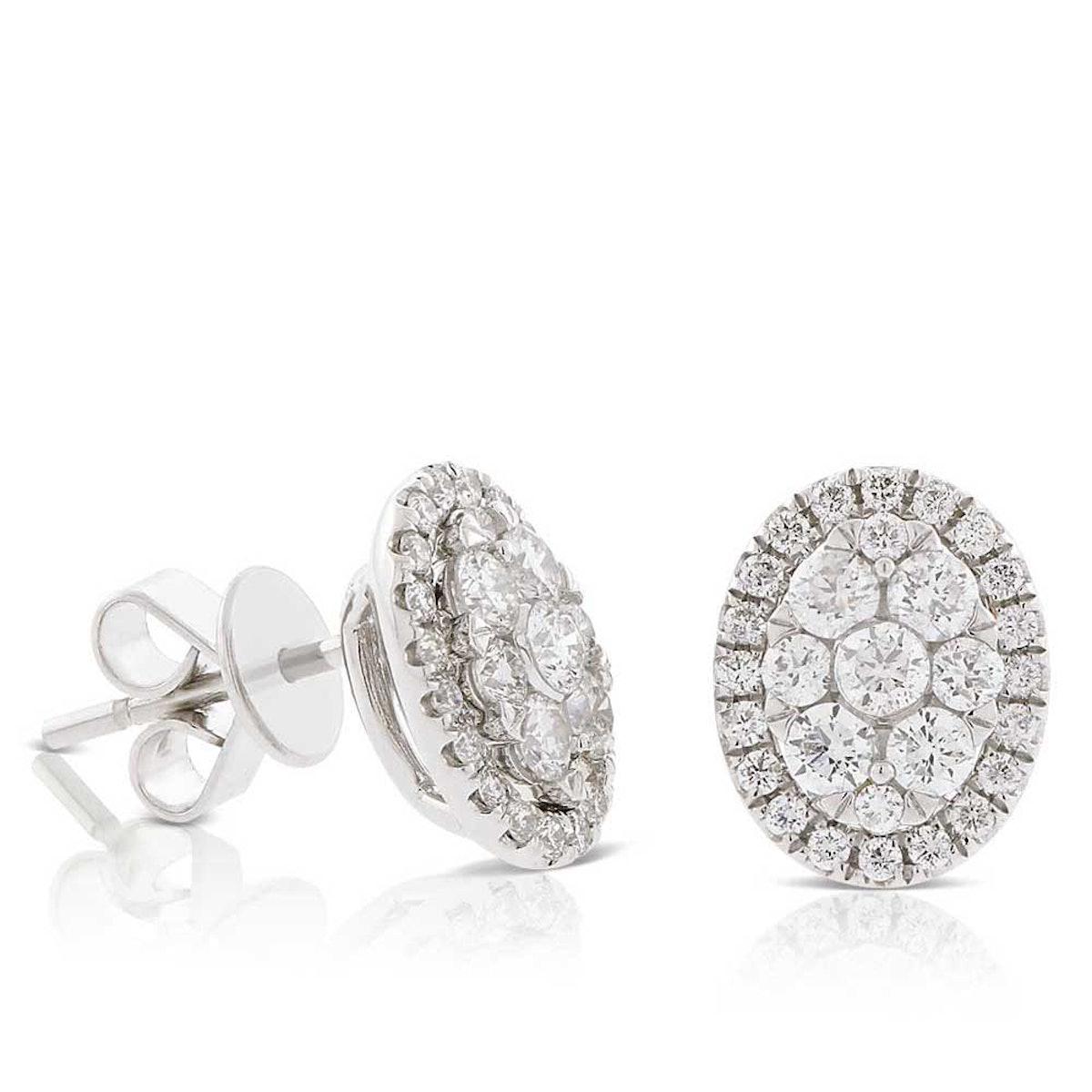 Diamond Cluster Oval Stud Earrings in 14K White Gold