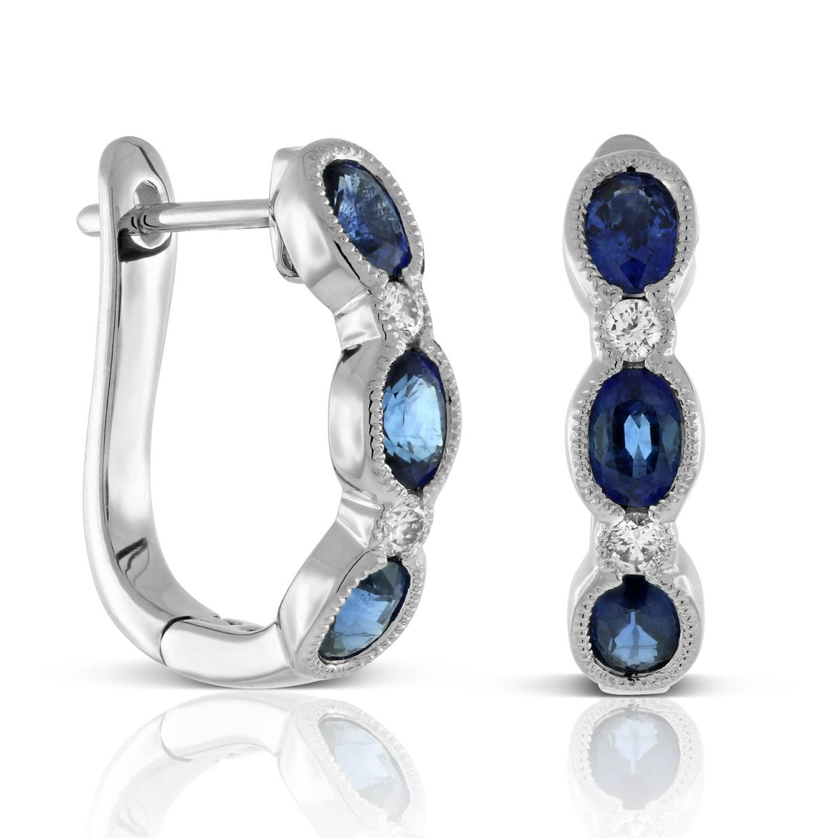 Sapphire & Diamond Hoop Earrings in 14K White Gold