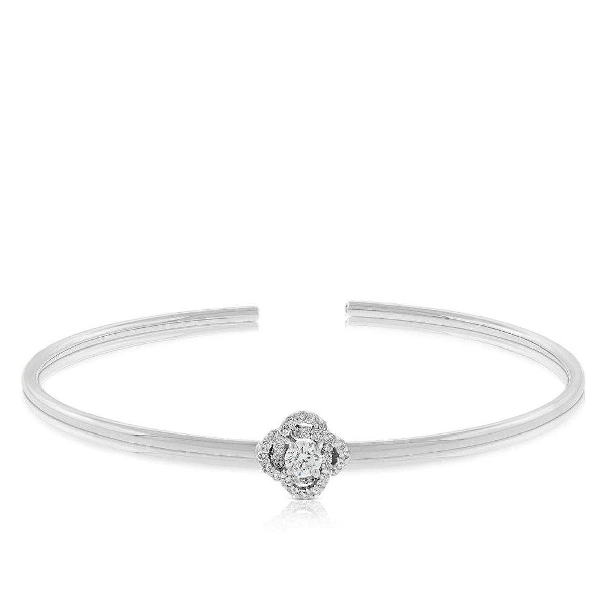 Signature Forevermark Diamond Flower Bangle in 18K White Gold