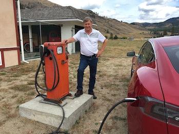 Ray's Tesla charging.