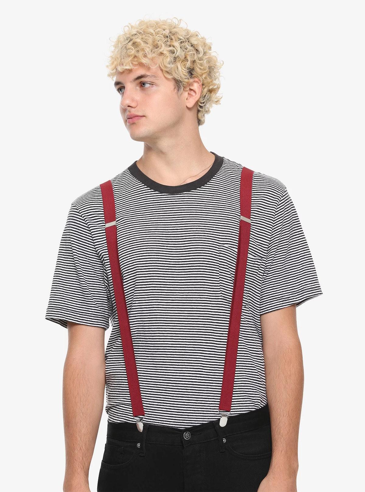 Hot Topic Burgundy Suspenders