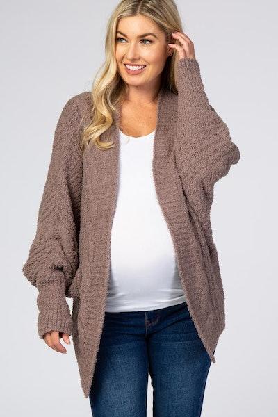 Mocha Soft Knit Cable Knit Dolman Sleeve Maternity Cardigan