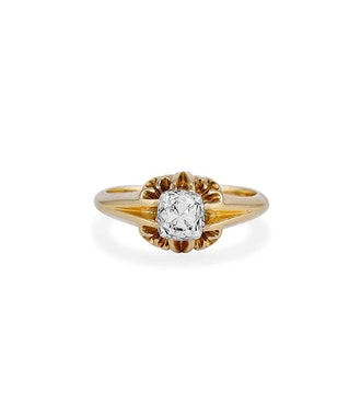 Victorian 1.01 Carat Peruzzi Cushion Cut Diamond Ring