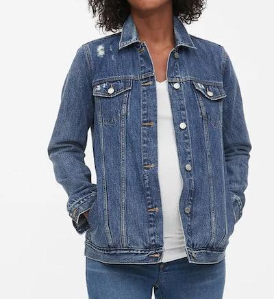 Maternity Icon Distressed Denim Jacket