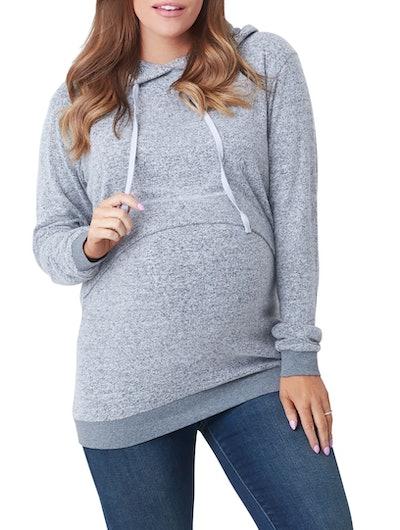 NOM Maternity Jojo Maternity/Nursing Hoodie in Grey Hacci