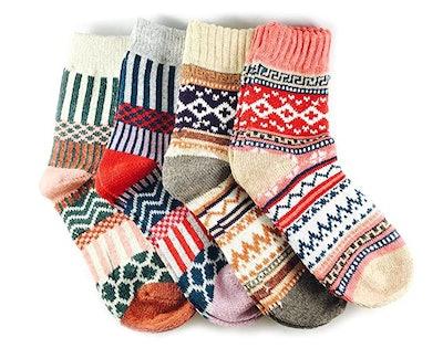 JOYCA & Co. Cotton Thick Winter Crew Socks (4-Pack)