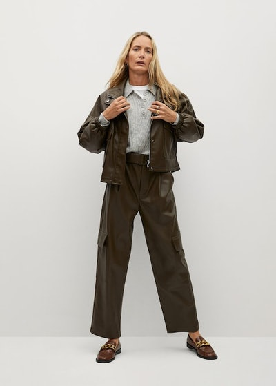 Relaxed Fit Faux-Leather Pants