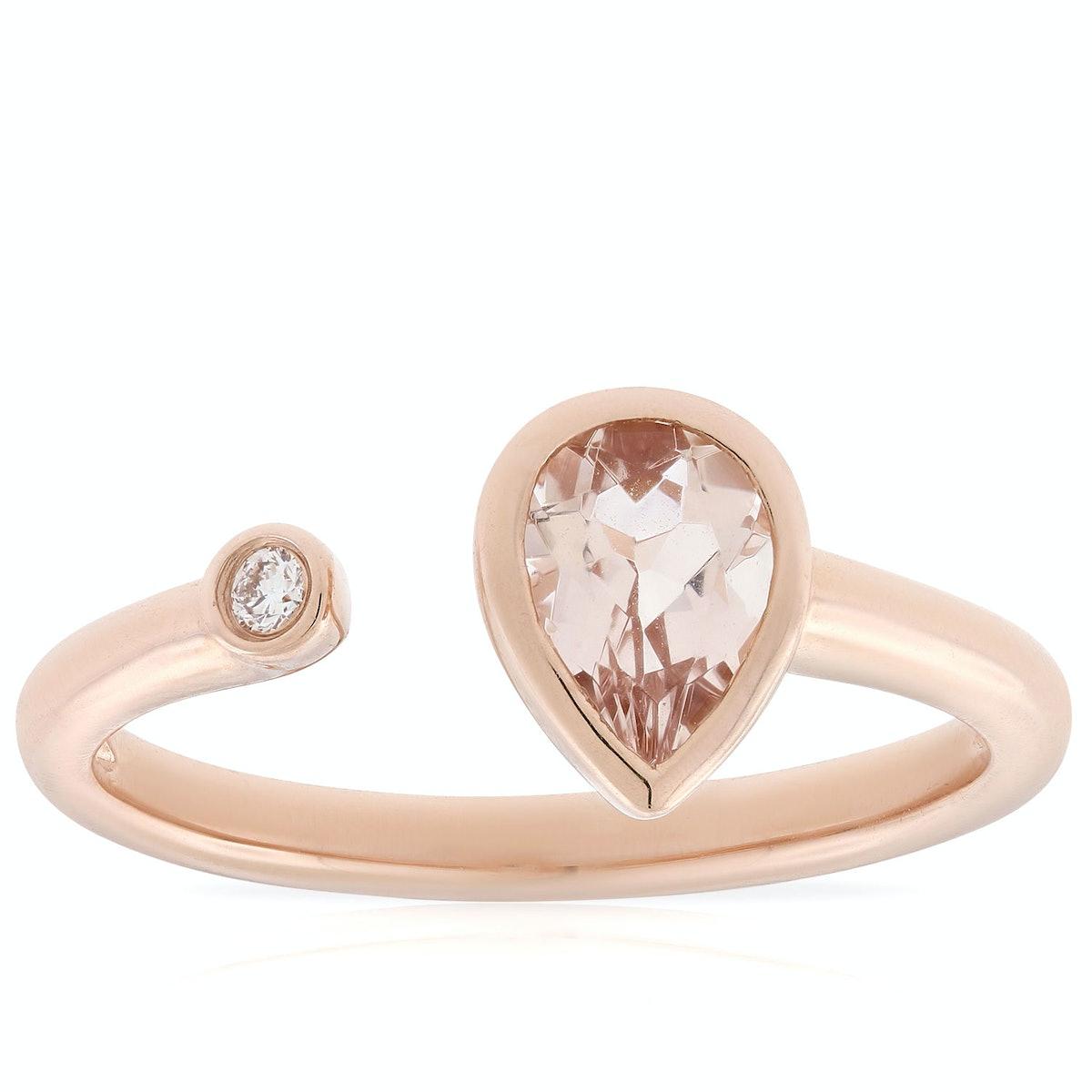 Morganite & Diamond Open Shank Ring in 14K Rose Gold