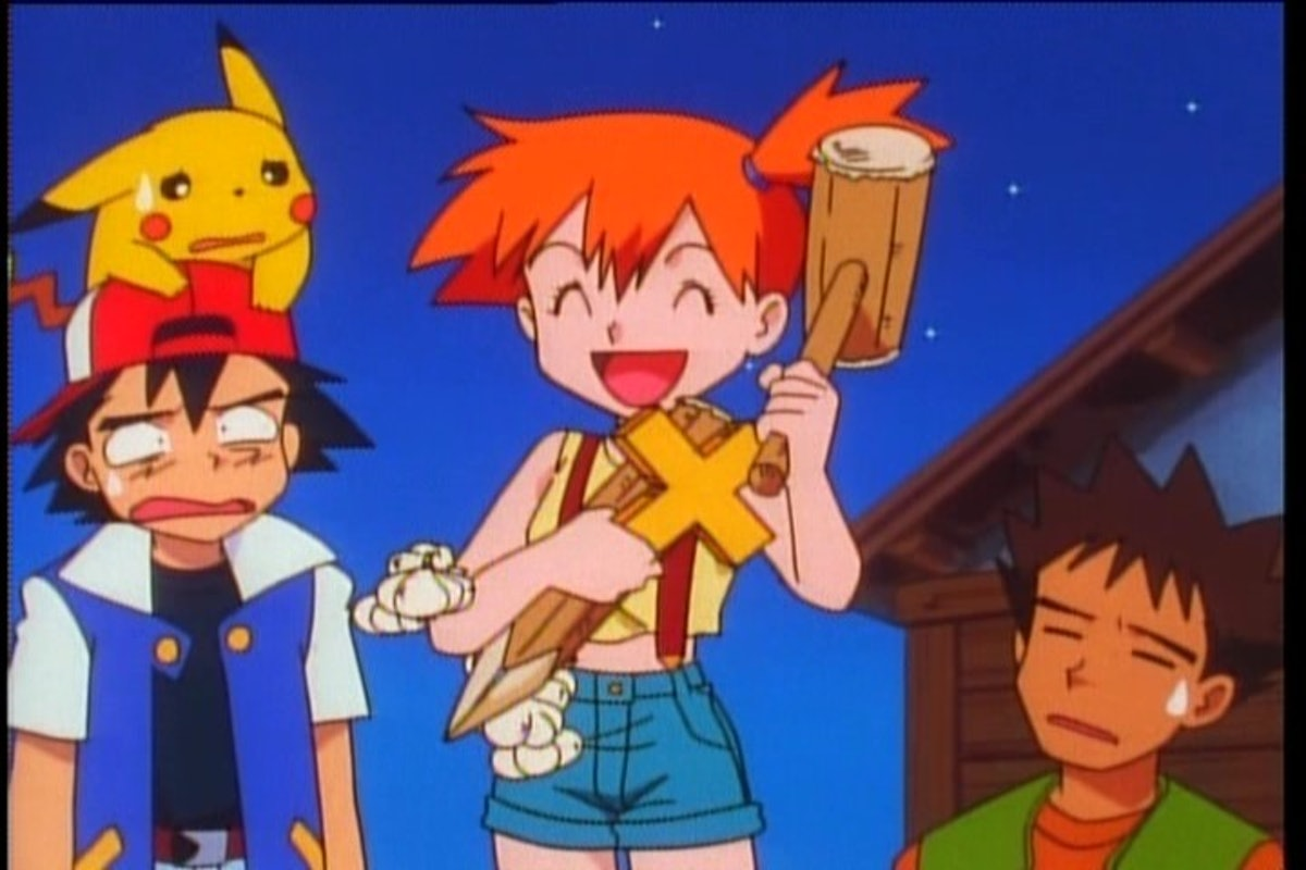 Misty hold weapons excitedly as Ash and Brock look on worriedly.