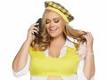 Woman wearing a 'Clueless' plus-size Halloween costume.