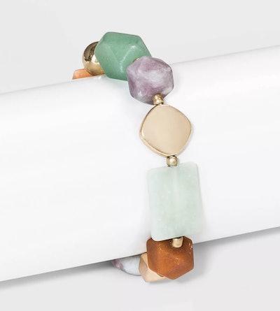 Universal Thread Semi-Precious Stretch Bracelet in Orange/Jade/Lilac