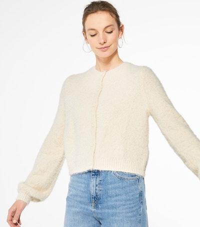 Cream Fluffy Knit Puff Sleeve Cardigan