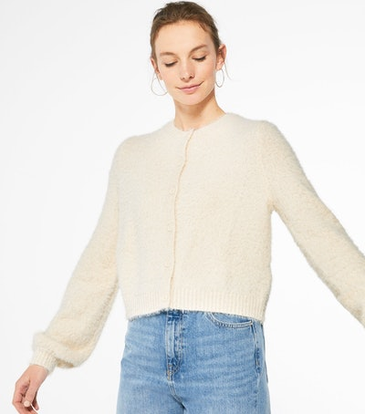 Cream Fluffy Knit Puff Sleeve Cardigan