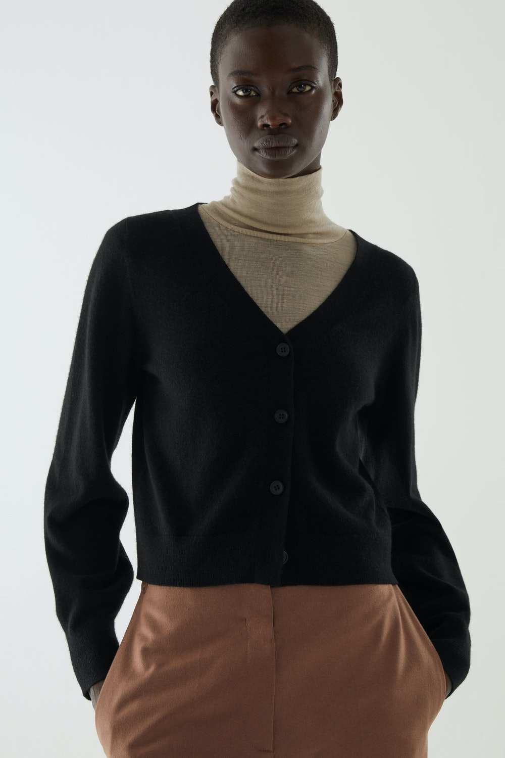 Knitted Balloon-sleeve Cashmere Cardigan