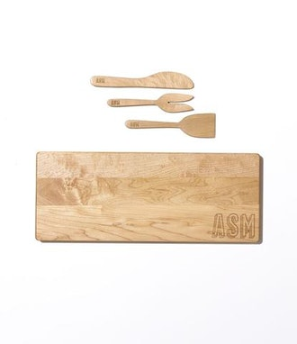 Engraved Monogram Cutting Board and Charcuterie Set
