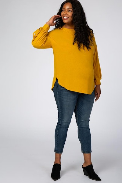 Yellow Soft Brushed Button Long Sleeve Maternity Plus Top