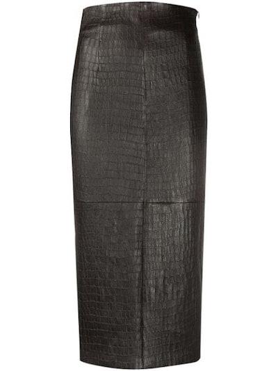 Crocodile Effect Pencil Skirt