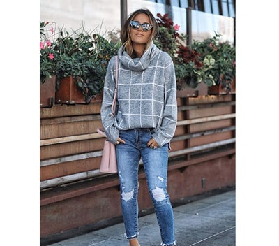 KIRUNDO Plaid Pullover Sweater