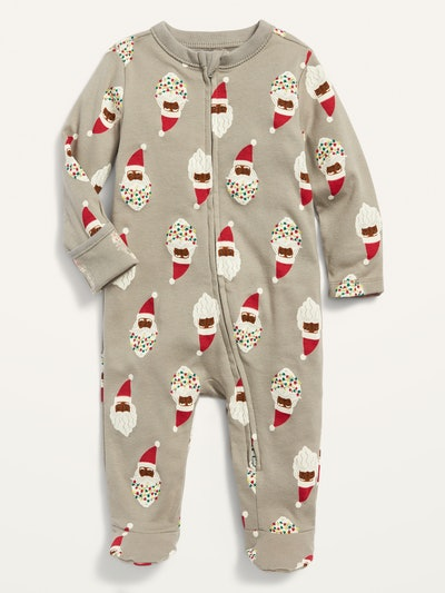 Unisex Santa-Print Footed One-Piece for Baby