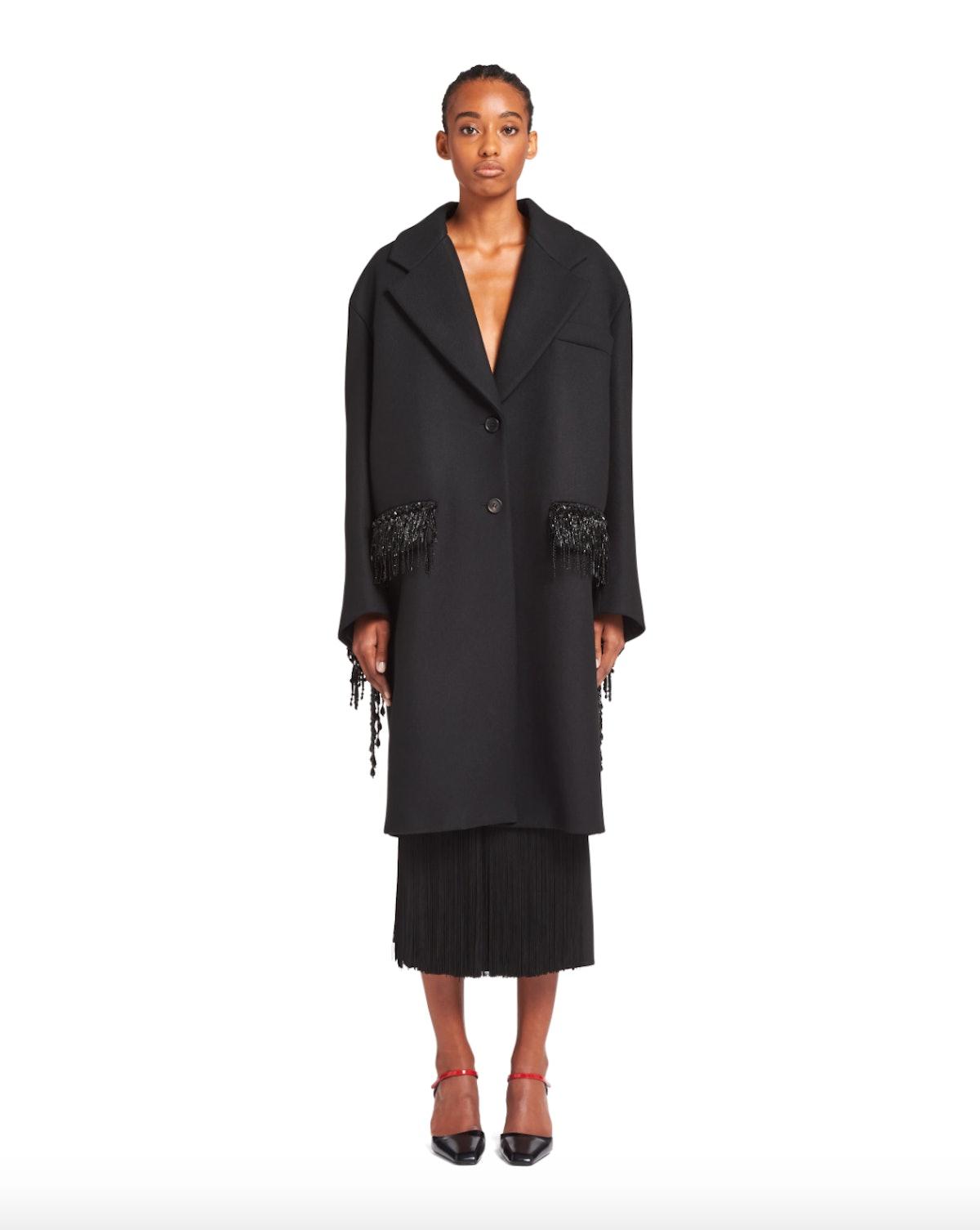 Prada Embellished Single-Breasted Textured Wool Coat