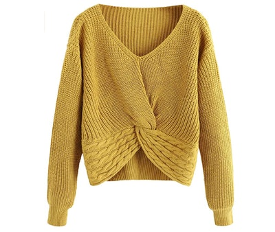 MakeMeChic Knot Front Cropped Sweater