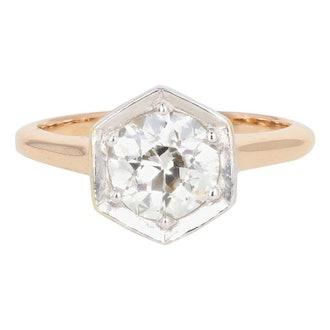1.54 Carat Old European Diamond Rose Gold Engagement Art Deco Ring