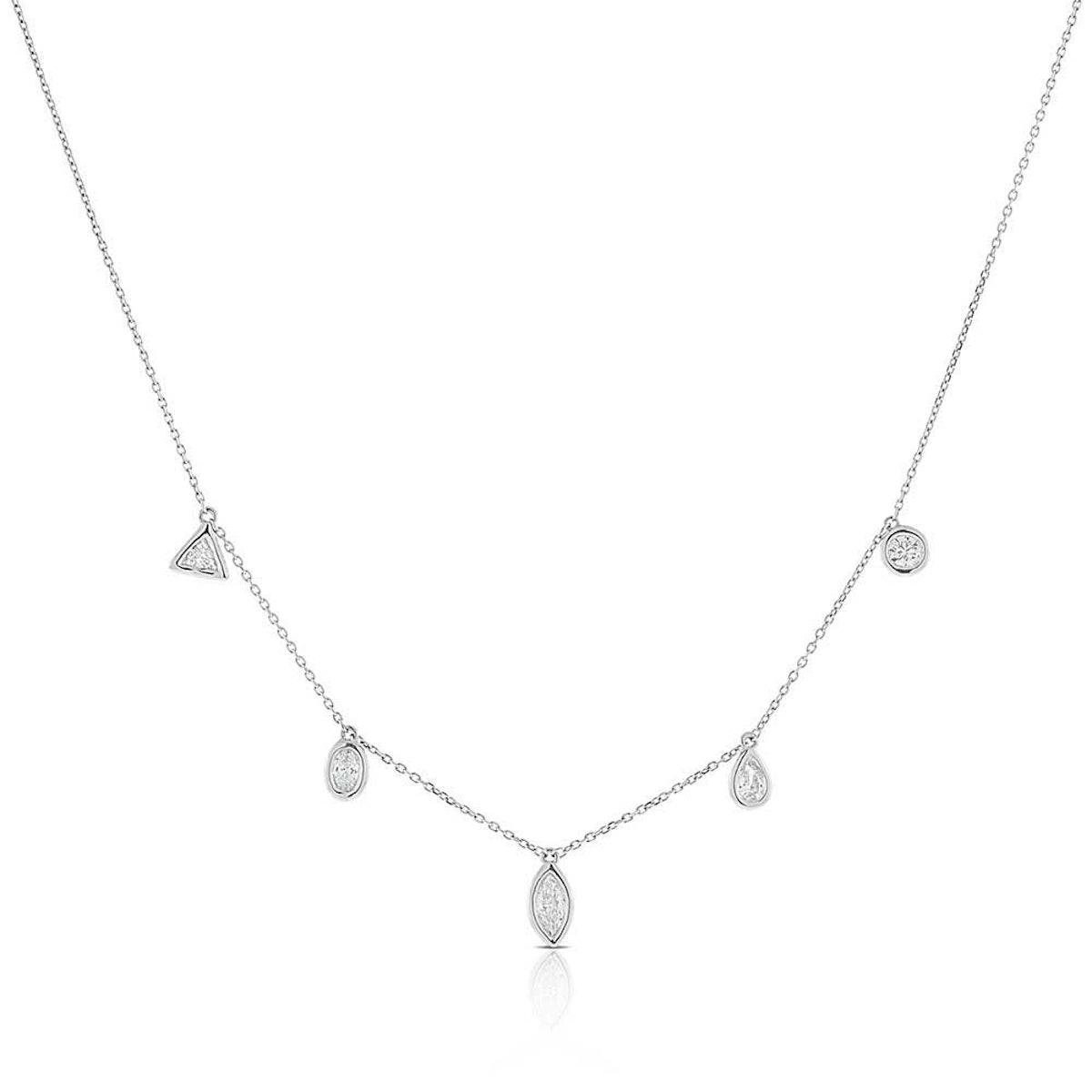 Fancy Shape Diamond Dangle Necklace in 14K White Gold