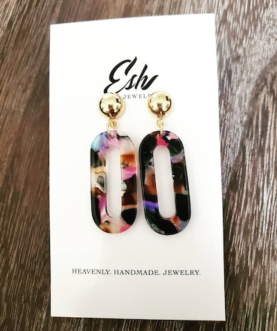 Esh Jewelry Collection, Small Multicolored Oval Hoop Earrings