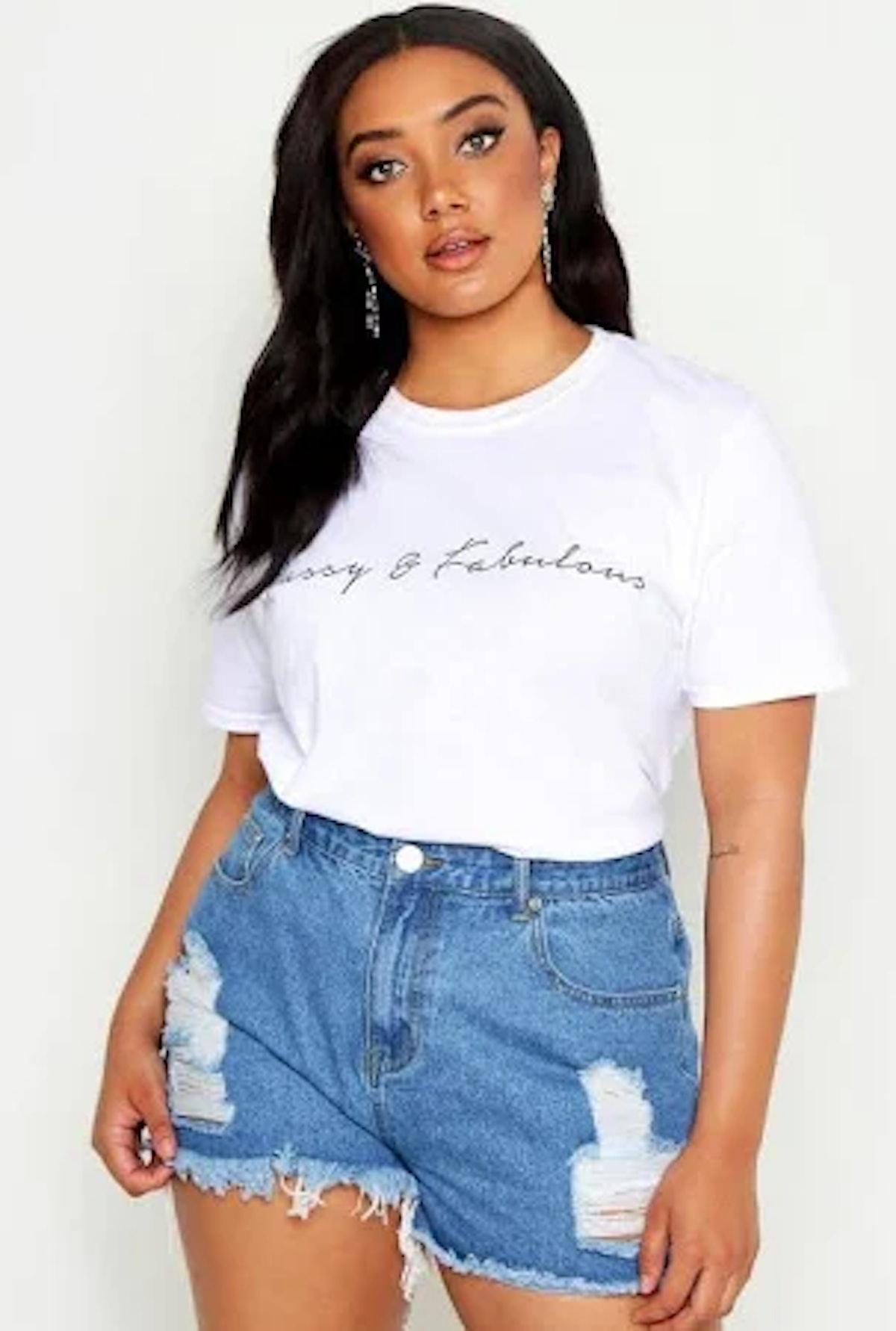 Boohoo Plus Ripped High Waist Jean Shorts