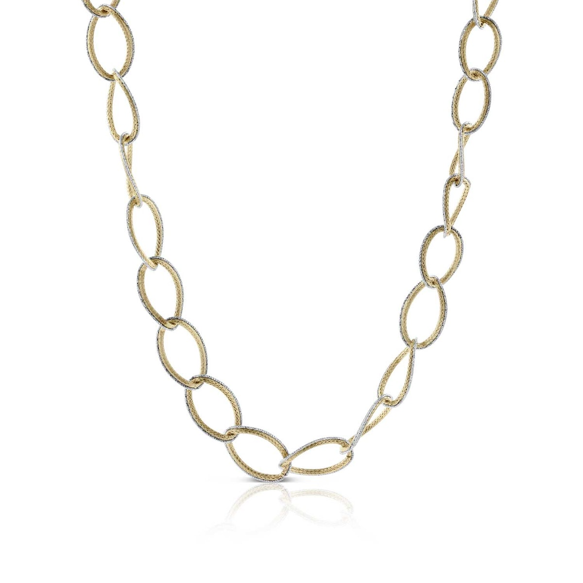 Toscano Italian Gold Collection Two-Tone Graduated Oval Link Necklace in 14K White & Yellow Gold
