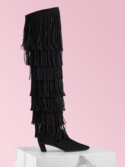 Belle Vivier Over The Knee Fringe Boots in Suede