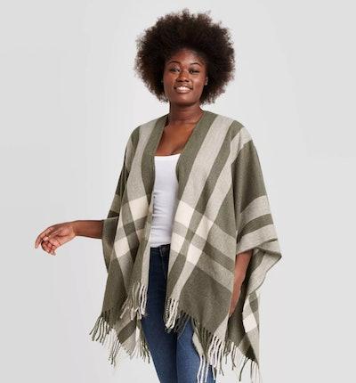 Universal Thread Women's Plaid Ruana Kimono Jacket in Green