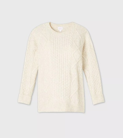 Ingrid & Isabel Maternity Cozy Cable Pullover Sweater in Beige