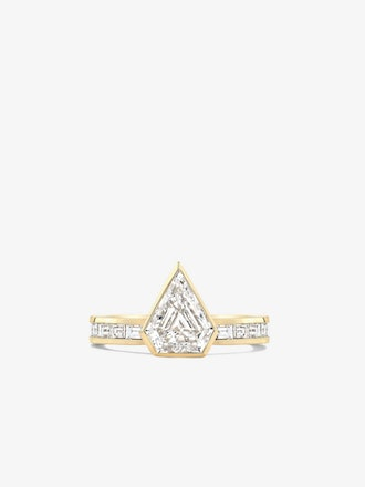 Shield Diamond Bezel Ring With Channel Set Baguettes