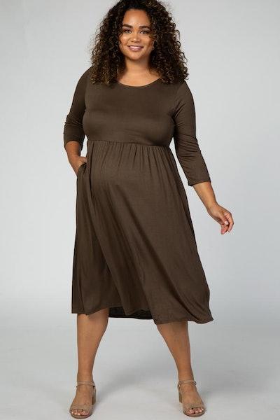 Olive 3/4 Sleeve Maternity Plus Midi Dress