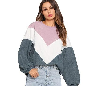 ROMWE Color Block Sweater