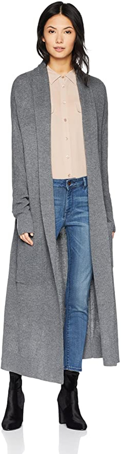 Cable Stitch Open Placket Long Cardigan