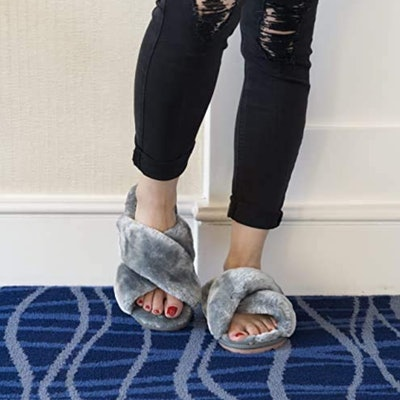 Crazy Lady Fuzzy Cross Band Slippers