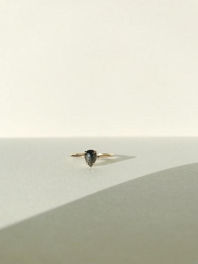 Dark Grey Pear Diamond Ring
