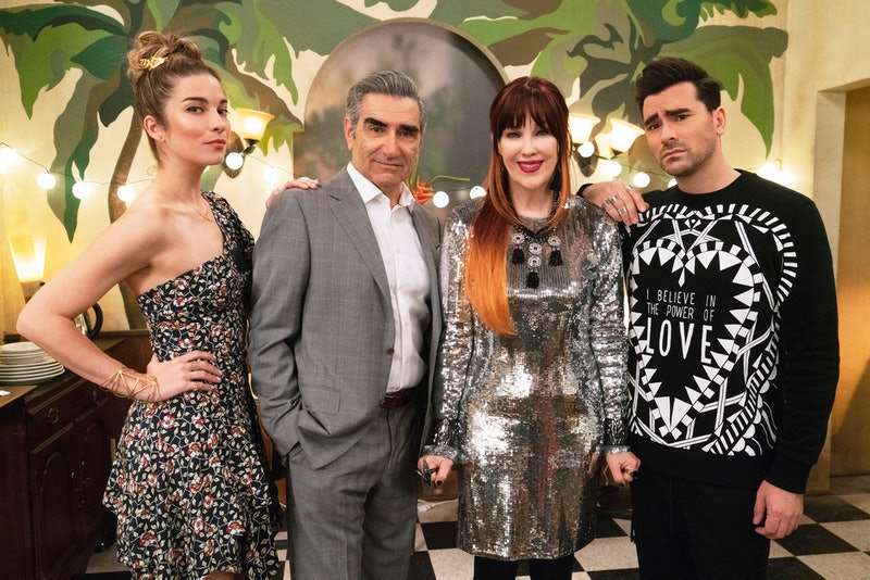 Annie Murphy as Alexis Rose, Eugene Levy as Johnny Rose, Catherine O'Hara as Moira Rose, and Daniel Levy as David Rose in 'Schitt's Creek'