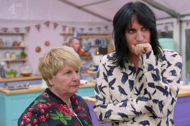 "Sandi  Toksvig and Noel Fielding on the set of ""The Great British Back Off."""