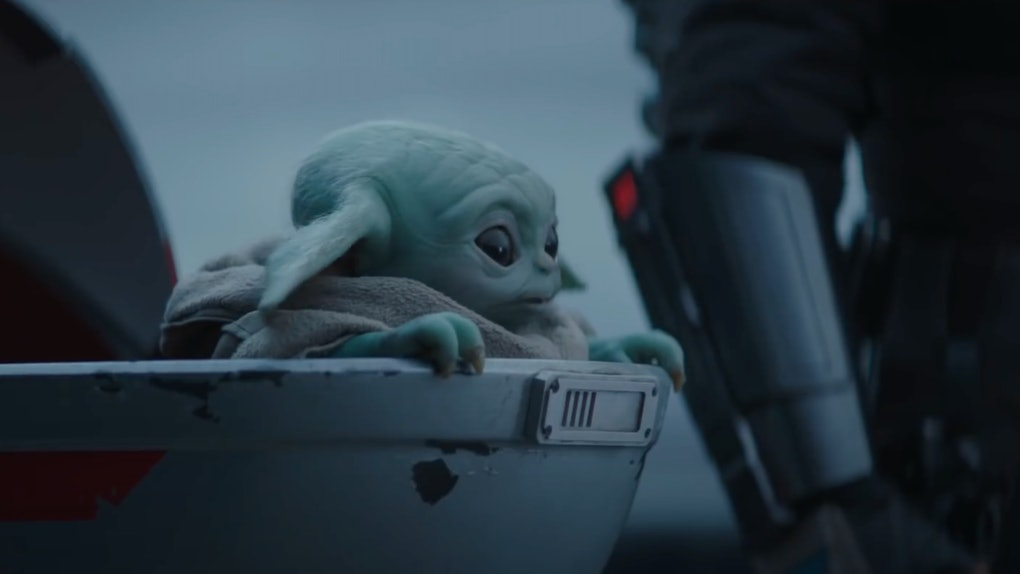 Baby Yoda sits in his shell during a scene in the season two trailer for Disney's 'The Mandalorian.'