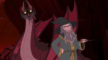 rick and morty season 4 claw and hoarder dragon wizard