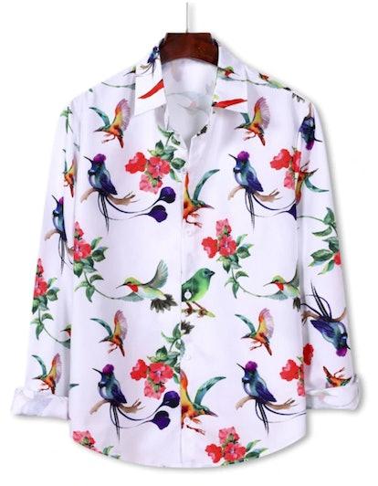 Zaful Flower Bird Pattern Button Down Shirt